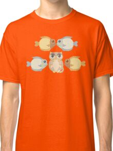 Cat With 4 Fish Classic T-Shirt