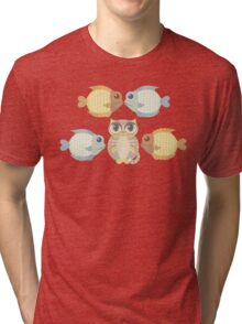 Cat With 4 Fish Tri-blend T-Shirt