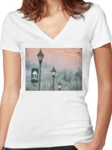 Streetlights In Twilight Women's Fitted V-Neck T-Shirt