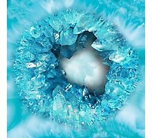 Aqua blue heart shaped crystals geode Photographic Print