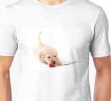 labrador puppy sniffing red rose Unisex T-Shirt