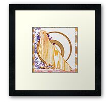 Pop Painted Watercolor - Bright yellow purple and white floral pattern - pigeon bird Framed Print