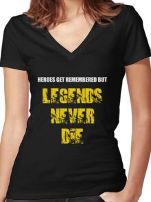 Heroes Get Remembered 3 Women's Fitted V-Neck T-Shirt
