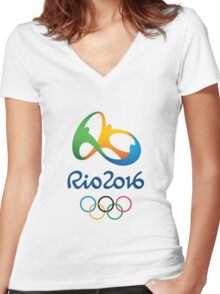 OLYMPIC GAMES RIO BRAZIL 2016 Women's Fitted V-Neck T-Shirt