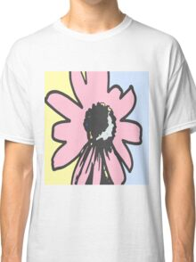 Retro daisy yellow pink blue floral pattern Classic T-Shirt
