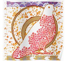 Pop Painted Watercolor - Bright gold coral and white floral pattern - pigeon bird Poster