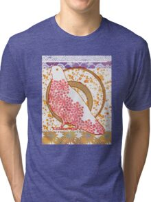 Pop Painted Watercolor - Bright gold coral and white floral pattern - pigeon bird Tri-blend T-Shirt
