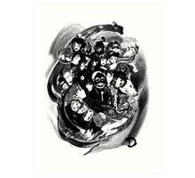 Tribute to Hayao Miyazaki (Black and White) Art Print