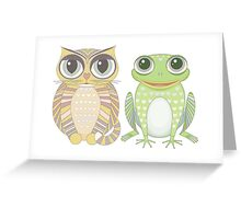 Big-Eyed Cat and Optimistic Frog Greeting Card