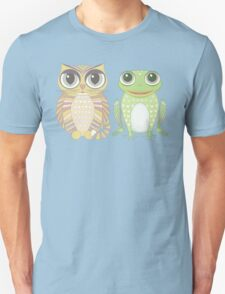 Big-Eyed Cat and Optimistic Frog Unisex T-Shirt