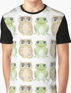 Big-Eyed Cat and Optimistic Frog Graphic T-Shirt