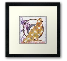 Pop Painted Watercolor - Bright yellow purple and white flower pattern - pigeon bird Framed Print