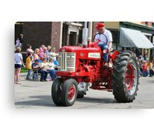 Red Tractor on Parade Canvas Print