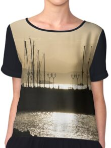 A Necklace of Old World Lights - Golden Morning at Naples Marina  Chiffon Top