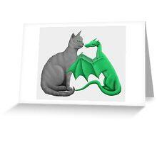 Gray Cat Meets Tiny Green Dragon Greeting Card
