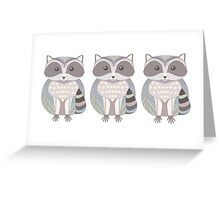 Raccoon Triplets Greeting Card