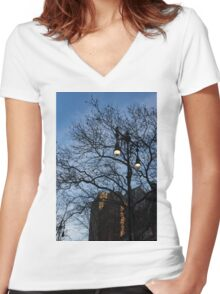 Elegant Period Lamps and Manhattan Skyscrapers Through the Tree Branches Women's Fitted V-Neck T-Shirt