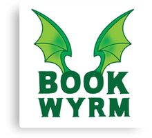BOOK WYRM (bookworm) Dragon wings Canvas Print