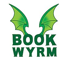 BOOK WYRM (bookworm) Dragon wings Photographic Print