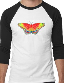 Colorful Butterfly - Red Men's Baseball ¾ T-Shirt