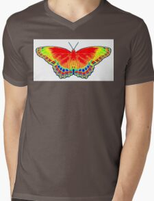 Colorful Butterfly - Red Mens V-Neck T-Shirt