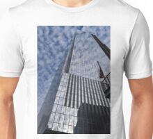Silver and Blue - Cloud Puffs and Glass Skyscrapers Unisex T-Shirt