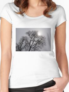 Pearly Silver Sky Filigree Women's Fitted Scoop T-Shirt