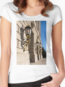 Light and Shadow - Antique Gilded Lanterns on a Washington, DC Facade Women's Fitted Scoop T-Shirt