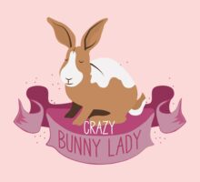 Crazy Bunny Lady banner (rabbits) Kids Tee