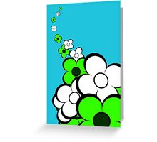 Lime Green and White Flowers Greeting Card