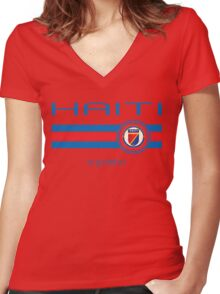Copa America 2016 - Haiti (Away Red) Women's Fitted V-Neck T-Shirt