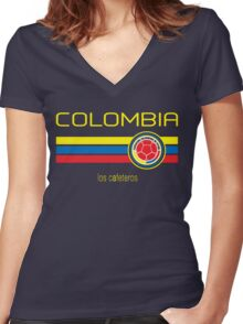 Copa America 2016 - Colombia (Away Dark Blue) Women's Fitted V-Neck T-Shirt