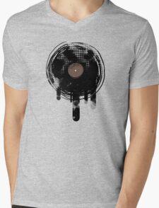 Cool Melting Vinyl Records Vintage Music T-Shirt Mens V-Neck T-Shirt