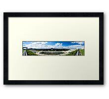 A wide angle image from Australia's Parliament House looking out across Canberra.  Framed Print