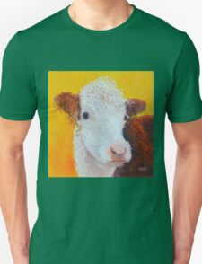 Brown and white Hereford Cow on gold Unisex T-Shirt