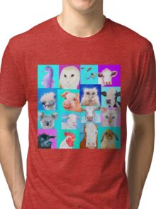 Animal paintings collage for nursery wall Tri-blend T-Shirt