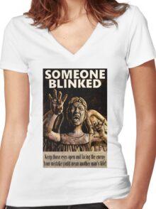 SOMEONE BLINKED Women's Fitted V-Neck T-Shirt