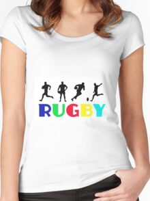 Multi-Coloured Rugby Women's Fitted Scoop T-Shirt