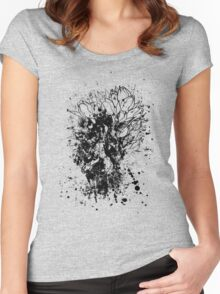 Tulips Grunge Sketch BW Women's Fitted Scoop T-Shirt