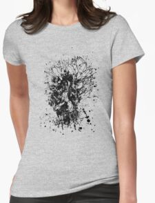 Tulips Grunge Sketch BW Womens Fitted T-Shirt
