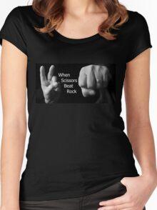 When Scissors Beat Rock Women's Fitted Scoop T-Shirt
