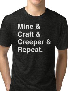 Mine & Craft & Creeper & Repeat. Tri-blend T-Shirt