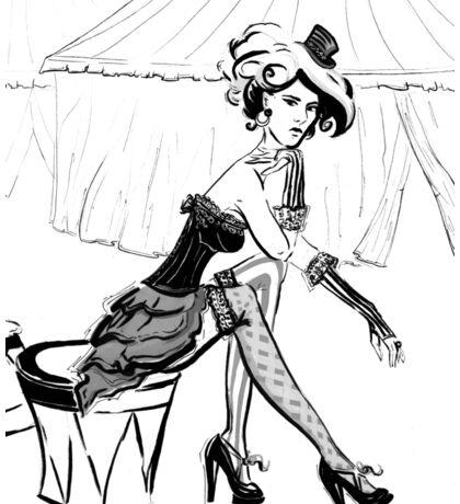 Fashion Circus Girl Portrait Sticker