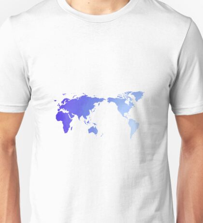 Blue watercolour world map design Unisex T-Shirt