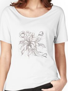 Bridal Bouquet.Hand drawn watercolor and brown ink drawing  Women's Relaxed Fit T-Shirt