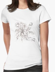 Bridal Bouquet.Hand drawn watercolor and brown ink drawing  Womens Fitted T-Shirt