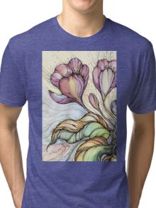 Crocus.Hand drawn watercolor and ink drawing Tri-blend T-Shirt