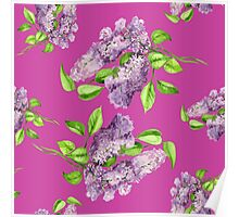 Blooming lilac branch seamless pattern. Floral pattern. Poster