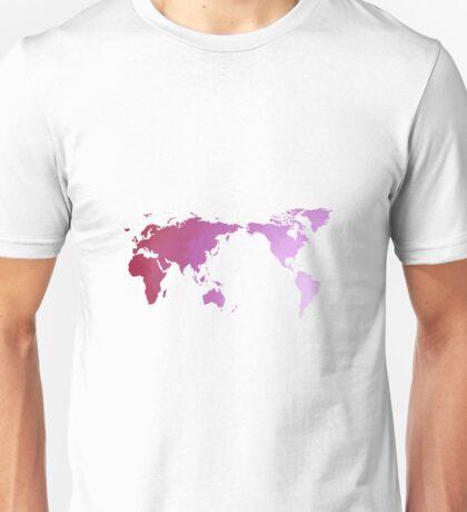 Pink watercolour world map design Unisex T-Shirt
