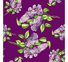 Blooming lilac branch seamless pattern. Floral pattern. Photographic Print